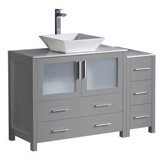 "Torino 48"" Gray Modern Bathroom Cabinets w/ Top & Vessel Sink"