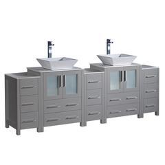 """Torino 84"""" Gray Modern Double Sink Bathroom Cabinets w/ Tops & Vessel Sinks"""