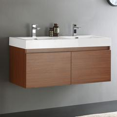 "Mezzo 48"" Teak Wall Hung Double Sink Modern Bathroom Cabinet"