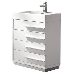 "Livello 24"" White Modern Bathroom Cabinet w/ Integrated Sink"