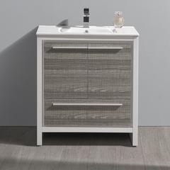 """Fresca Allier Rio 30"""" Ash Gray Modern Bathroom Cabinet"""