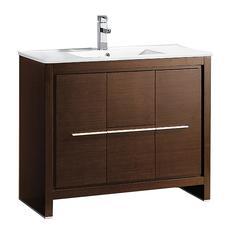 """Allier 40"""" Wenge Brown Modern Bathroom Cabinet w/ Sink"""