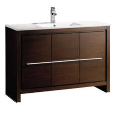 """Allier 48"""" Wenge Brown Modern Bathroom Cabinet w/ Sink"""