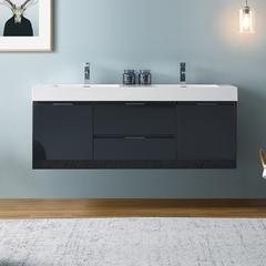 "Fresca Valencia 60"" Dark Slate Gray Wall Hung Double Sink Modern Bathroom Cabinet"