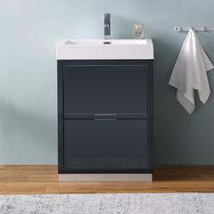 "Fresca Valencia 24"" Dark Slate Gray Free Standing Modern Bathroom Cabinet"