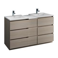 "Lazzaro 60"" Gray Wood Free Standing Double Sink Modern Bathroom Cabinet"
