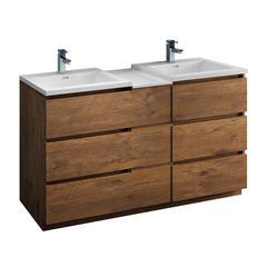 "Lazzaro 60"" Rosewood Free Standing Double Sink Modern Bathroom Cabinet"