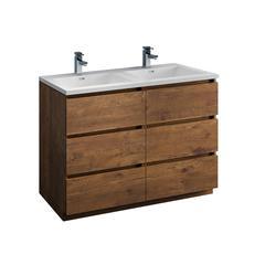 "Lazzaro 48"" Rosewood Free Standing Double Sink Modern Bathroom Cabinet"