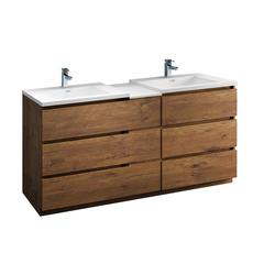 """Lazzaro 72"""" Rosewood Free Standing Double Sink Modern Bathroom Cabinet w/ Integrated Sinks"""