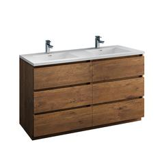 """Lazzaro 60"""" Rosewood Free Standing Modern Bathroom Cabinet w/ Integrated Double Sink"""
