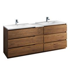 "Lazzaro 84"" Rosewood Free Standing Double Sink Modern Bathroom Cabinet"