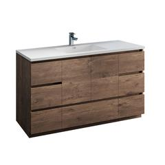 "Lazzaro 60"" Rosewood Free Standing Single Sink Modern Bathroom Cabinet"