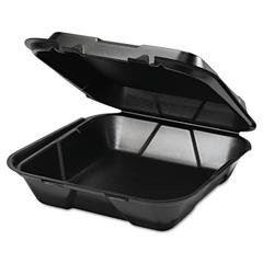 Genpak Snap It Foam Container, 1-Comp, 9 1/4 x 9 1/4 x 3, Black, 100/Bag, 2 Bags/Carton