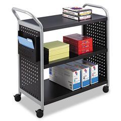 Safco Scoot Three-Shelf Utility Cart, 31w x 18d x 38h, Black/Silver