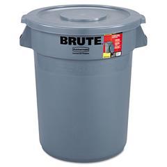 Brute Container All-Inclusive, Round, Plastic, 32gal, Gray