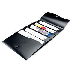 Slide & View Expanding File, 5 Pockets, Polypropylene, Letter, Black