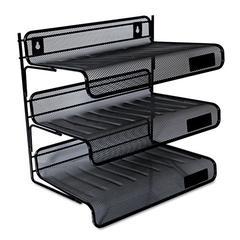 Universal Mesh Three-Tier Desk Shelf, Letter, Black