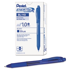EnerGel-X Retractable Roller Gel Pen, 1mm, Trans Blue Barrel, Blue Ink, Dozen