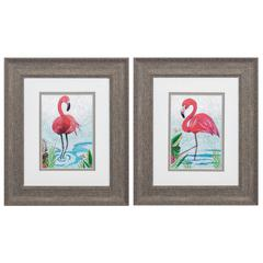 Vivid Flamingo  Wall Art, Pack of 2