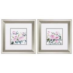 Rosebud Watercolor Wall Art, Pack Of 2