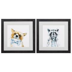 Fox Raccoon  Wall Art, Pack Of 2