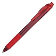 Pentel EnerGel-X Retractable Roller Gel Pen, 1mm, Trans Red Barrel, Red Ink, Dozen