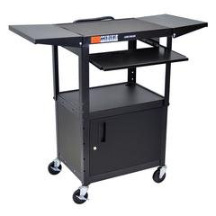 Adjustable Height Black Metal A/V Cart w/ Pullout Keyboard Tray, Cabinet & 2 Drop Leaf Shelves