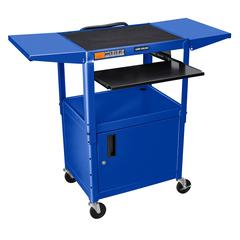 Adjustable Height Blue Metal A/V Cart w/ Pullout Keyboard Tray, Cabinet & 2 Drop Leaf Shelves