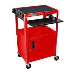 Adjustable Height Red Metal A/V Cart w/ Pullout Keyboard Tray and Cabinet