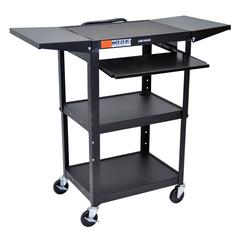 Adjustable Height Black Metal A/V Cart w/ Pullout Keyboard Tray & 2 Drop Leaf Shelves