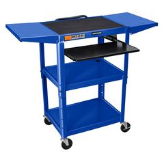 Adjustable Height Blue Metal A/V Cart w/ Pullout Keyboard Tray & 2 Drop Leaf Shelves