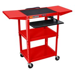 Adjustable Height Red Metal A/V Cart w/ Pullout Keyboard Tray & 2 Drop Leaf Shelves