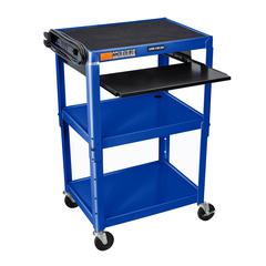 Adjustable Height Blue Metal A/V Cart w/ Pullout Keyboard Tray