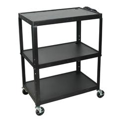 Extra Wide Steel Adjustable Height A/V Cart