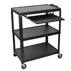 Extra Wide Steel Adjustable Height A/V Cart W/Pullout Keyboard Shelf