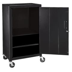 H Wilson Black Steel 4 Shelf A/V Cart W/ Cabinet