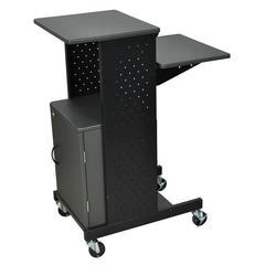 Gray 4 Shelf Mobile Presentation Station W/ Cabinet