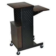 Walnut 4 Shelf Mobile Presentation Station W/ Cabinet