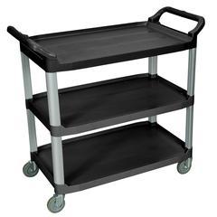 Large 3 Shelf Black Serving Cart