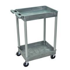 2 Shelf Gray Tub Cart