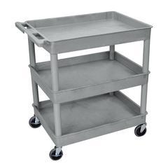 3 Shelf Large Gray Tub Cart