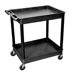 2 Shelf Large Black Tub Cart