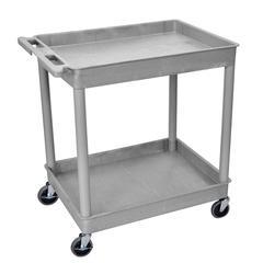 2 Shelf Large Gray Tub Cart