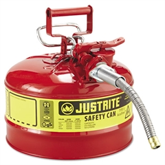 Justrite Type II AccuFlow™ Safety Can, 2.5gal, Red, 5/8in Diameter Hose
