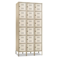 Safco Three-Column Box Locker, 36w x 18d x 78h, Two-Tone Tan