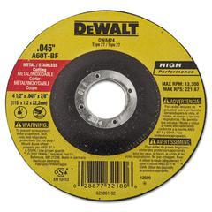DeWalt DW8424 Type 27 Hi-Performance Metal-Cutting Wheel, 4 1/2 x .045, 7/8 Arbor Dia.