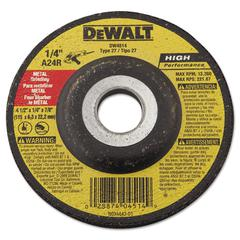 DW4514 Type 27 Hi-Performance Metal-Grinding Wheel, 4 1/2 x 1/4, 7/8 Arbor Dia.