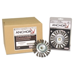 Anchor Brand Knot Wheel Brush, 4in Diameter, Stainless Steel, .014in Wire
