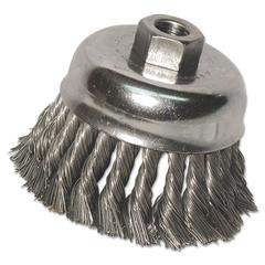 """Anchor Brand Knot-Cup Wire-Wheel Brush, 6"""" dia, .025 Wire, 5/8"""" Arbor"""