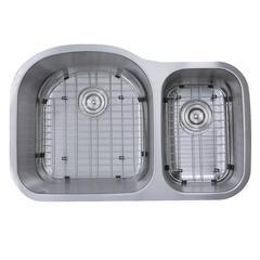 31.5 Inch 70/30 Double bowl Undermount Stainless Steel Kitchen Sink, 16 Gauge